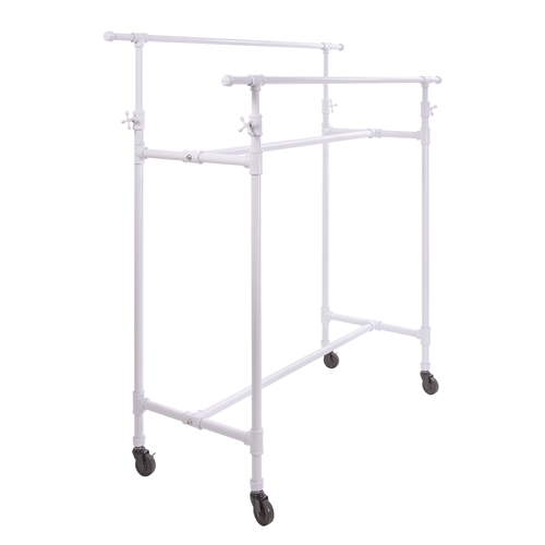 Adjustable Double Bar Box Rack in Glossy White - Pipe Collection from www.zingdisplay.com