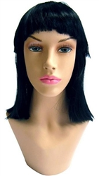 Long Black Wig with Strait Bangs for mannequin or head display
