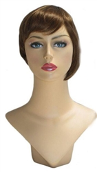 Dark Brown Womans Bob wig for mannequin or head display