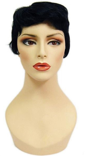 Unisex Black Vintage Look Short Hair for mannequin or head display