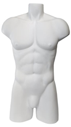 Headless Male White Freestanding Torso Form