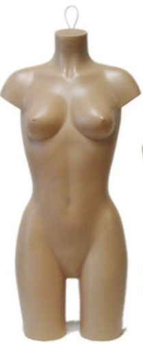 Unbreakable Plastic Female 3/4 Torso Form in tan