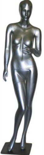 Abstract Head Metallic Silver Female Mannequin from www.zingdisplay.com