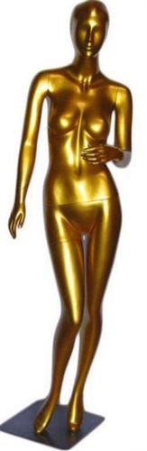 Abstract Head Metallic Gold Female Mannequin from www.zingdisplay.com