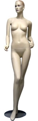 Realistic Female Fleshtone Mannequin with Molded Slicked Back Hair