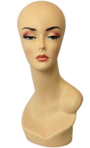 Female Head Display Full MakeUp w/ No Ears.   Nice counter top head display for jewelry, hats or wigs