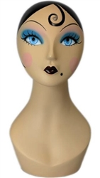 Vintage 20's Make Up Female Display Head .   Nice counter top head display for jewelry, hats or wigs