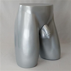 Anatomically Correct Full Size Silver Male Torso Butt Form