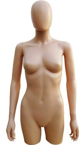 Egghead Fiberglass Female 3/4 Torso in breakable plastic from www.zingdisplay.com.  Standing pose with arms at her side. Durable plastic ideal for trade shows or busy showrooms.