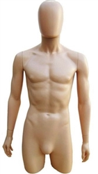 Realistic Fiberglass Male 3/4 Torso from www.zingdisplay.com.  Standing pose with arms at his side. Durable plastic ideal for trade shows or busy showrooms.