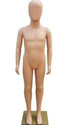 Child mannequin made of unbreakable plastic.  Comes with an egghead.  Arms rotate at the shoulders.