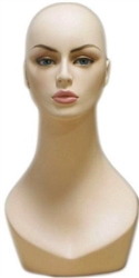 Full Make Up Female Head Display w/ Stylish Neck.   Nice counter top head display for jewelry, hats or wigs