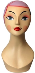 Vintage Style Female Head Form With Pink Hair