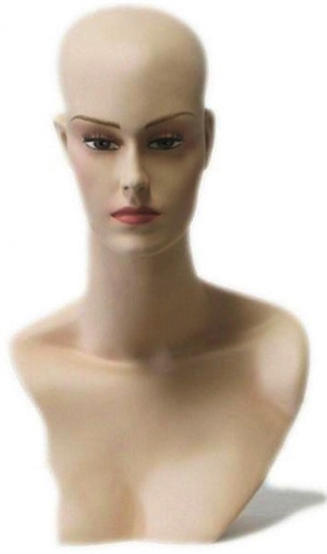 Definition and Class Female Display Head. Nice counter top head display for jewelry, hats or wigs