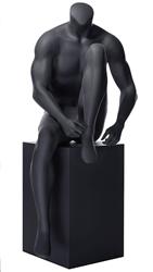 Headless Matte Grey Sitting Muscular Male Mannequin | From ZingDisplay.com