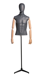 Matte Grey Male Egghead Mannequin 1/2 Torso with Stand and Posable Wood Arms
