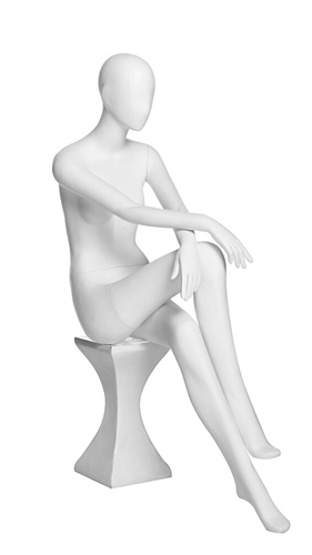 Matte White Abstract Sitting Female Egghead Mannequin From ZingDisplay.com