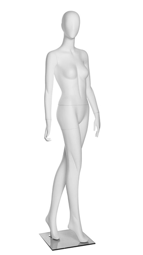 Matte White Abstract Female Egghead Mannequin - Looking Right - From ZingDisplay.com