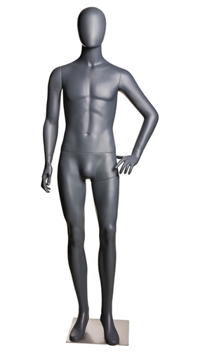 Matte Gray Male Egghead Mannequin Left Hand on Hip