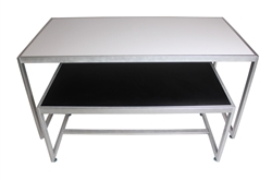 Black and White Reversible Nesting Table Set With Matte Silver Frame
