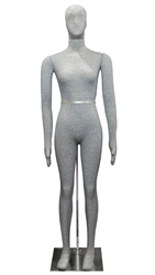Pinable Jersey Covered Female Mannequin Flexible in Grey or Black