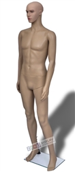 Realistic Facial Features Male Mannequin in Tan made of Unbreakable Plastic from Zing Display