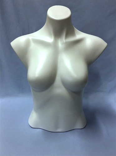 White fiberglass female torso.  Headless and armless.