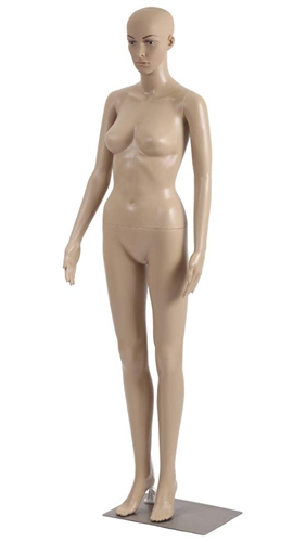 Unbreakable Fleshtone Realistic Female Mannequin - Arms by Side