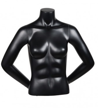 Matte Black Female 1/2 Torso Mannequin with Arms