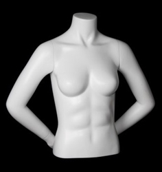 Matte White Female 1/2 Torso Mannequin with Arms