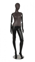 Mixed Fabric Black Leatherette Female Mannequin with Wooden Posable Arms and Bent Leg