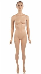 Matte White Headless Female Mannequin Arms by Sides