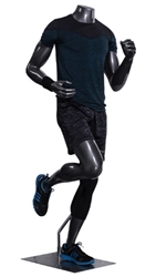 Athletic Headless Male Mannequin Glossy Gray - Running Pose