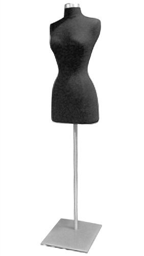 Female 3/4 Torso Jersey Form with Metal Flat Base - Black