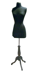 Female 3/4 Torso Form with Wooden Tripod Base - Black