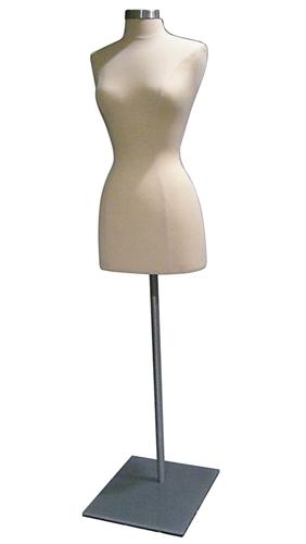 Female 3/4 Torso Jersey Form with Metal Flat Base