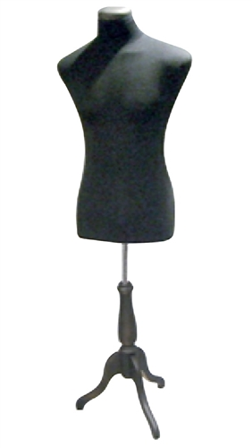 Male 3/4 Torso Form with Wooden Tripod Base - Black