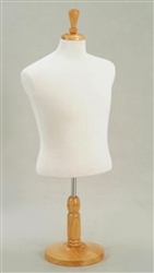 White Fabric Jersey Half Male Display Form with Wood Base
