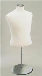 White Fabric Jersey Half Male Display Form with Metal Base