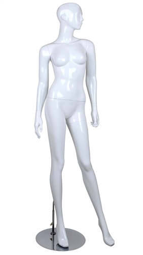 White Mannequin Abstract Head Female Arms at her Sides
