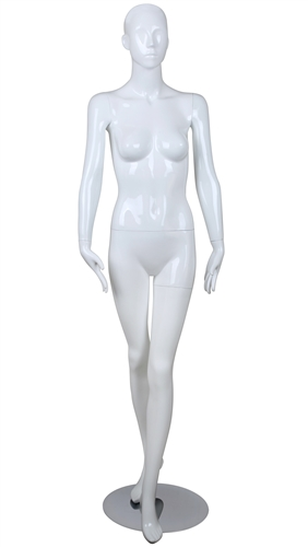 White Mannequin Abstract Head Female Arms at her Sides and Left Leg in Front