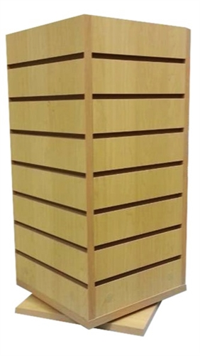 4 Sided Wood Slatwall Countertop Spinner Display
