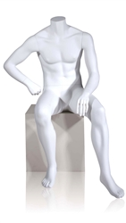 White Seated Headless Male Mannequin