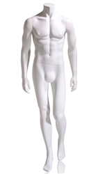 Headless male mannequin in white