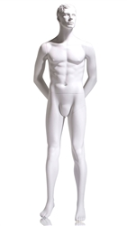 Male mannequin with arms behind his back.  True white finish. A perfect addition to any retail display.