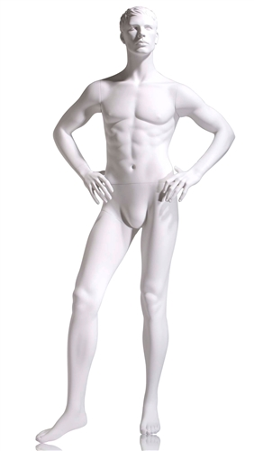 Male mannequin with hands on his hips. True white finish.