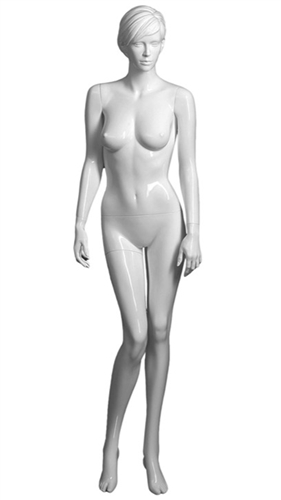 Female mannequin in white.  Comes with sculpted hair and face.