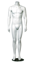 White Headless Male Mannequin with Arms at Sides