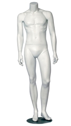 White Headless Male Mannequin Left Knee Bent