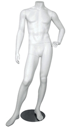 White Headless Male Mannequin Right Leg Out
